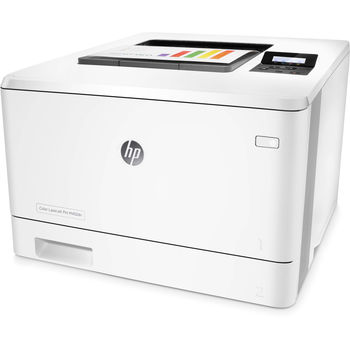 HP Color LaserJet Pro M452dn Printer, Up to 27ppm, Duplex, 600x600 dpi, Up to 50000 p., 256 MB NAND Flash, 128 MB DRAM, 2 line LCD display,  PCL 5c/6, Postscript 3, USB 2.0, Ethernet 10/100Base-TX, HP ePrint, Apple AirPrint™, White