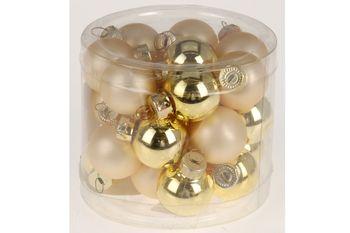 Набор шаров стеклянных 24X25mm, в цилиндре, золотые