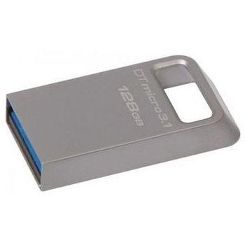 128GB USB3.1 Kingston DataTraveler Micro 3.1, Metal casing, Compact and lightweight, World's smallest USB Flash drive (Read 100 MByte/s, Write 15 MByte/s)