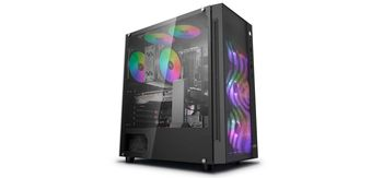 """DEEPCOOL """"MATREXX 55 MESH ADD-RGB 4F"""" ATX Case, with Side-Window (full sized 4mm thickness), Tempered Glass Side, without PSU, Tool-less, 4x120mm ADD-RGB fans pre-installed, 1xUSB3.0, 2xUSB2.0 /Audio, Black"""
