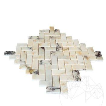 купить Мозаичный мрамор Arabescato Herringbone Полированный 2,3 x 5 см в Кишинёве