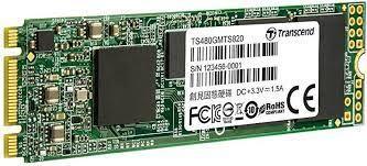 """.M.2 SATA SSD 480 ГБ Transcend """"TS480GMTS820S"""" [80 мм, R / W: 560/510 МБ / с, 50/75 000 операций ввода-вывода в секунду, SM2258, 3D TLC]"""