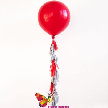 купить Большой латексный красный шар 91 см с гирляндой тассел в Кишинёве