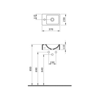 Раковина Bocchi Milano 23x37cm кран слева