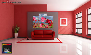 Картина напечатанная на холсте - Триптих Цветы 0004