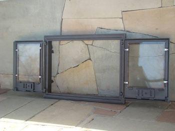 Дверца чугунная со стеклом двустворчатая DCHP3