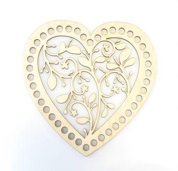 Formă din lemn inimă, 15 cm