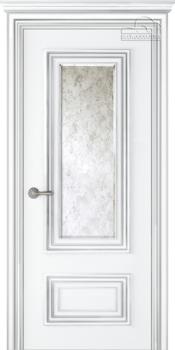 купить Дверь ПАЛАЦЦО 2 эмаль белый патина серебро остекленная в Кишинёве