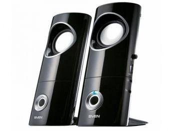 "SVEN 245 Black (USB),  2.0 / 2x2W RMS, USB power supply, headphone jack, microphone input, 2.2"""