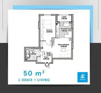 купить 1 квартира - тип 2 в Кишинёве