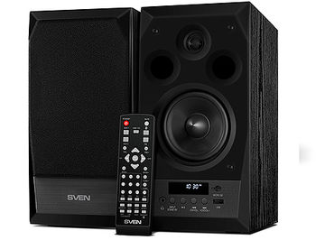 Active Speakers SVEN MC-10, black, Remote, RMS 50W, 2x25W, 45-27000Hz, Bluetooth, FM Tuner, USB port, SD slot, дерево/lemn (boxe sistem acustic/колонки акустическая сиситема), www