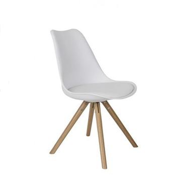 купить Стул из пластика с сиденьем из губки и деревянными ножками, белый в Кишинёве