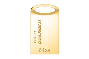 64GB USB3.0 Transcend JetFlash 710 Gold, Metal Case, Ultra-Small (Read 90 MByte/s, Write 12 MByte/s)