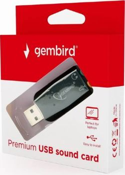 "Gembird SC-USB2.0-01 ""Virtus Plus""  USB Sound Card,  connectors: USB A-type male, 3.5mm stereo headphone jack, 3.5mm microphone input jack, 3.5 mm line-in jack,  CMedia CM108B"