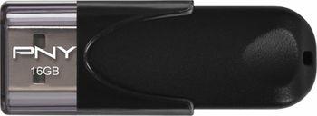 16GB USB2.0 PNY Attache 4 Black, Sliding design, (Read 25 MByte/s, Write 8 MByte/s)