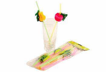 """Набор соломок для коктейля с украшением """"фрукты"""" 20шт"""