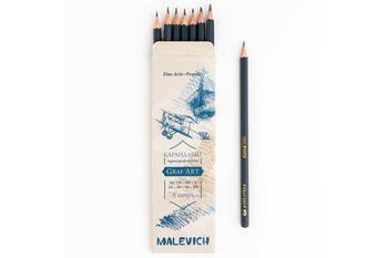 Набор чернограф. карандашей Малевичъ Graf'Art, 8 шт