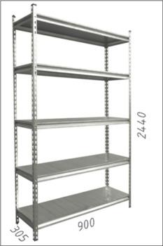 купить Стеллаж металлический с металлической плитой - 900x305x2440 мм, 5 полок/MB в Кишинёве