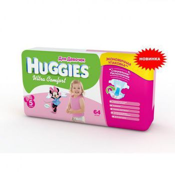 Huggies подгузники Ultra Comfort  5  для девочек (12-22 kg) (64 шт.)