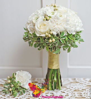 купить Нежный белый букет невесты с гвоздиками в Кишинёве
