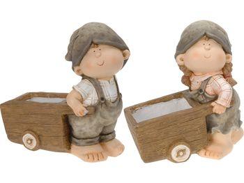 Мальчик/девочка декоративные с тележкой 34.5X18.5X35cm