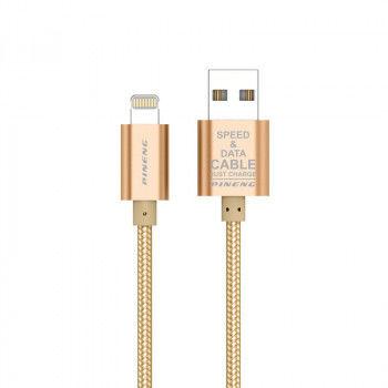 cumpără Pineng PN-305 Gold, Lightning Speed & Data Charging Cable with Nylon în Chișinău