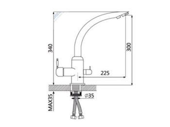 купить Смеситель кухонный под фильтр глянец  (темн. сер.) G011Q8 в Кишинёве