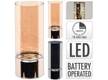 Подсвечник со светящейся нитью и таймером 20X8cm, стекло