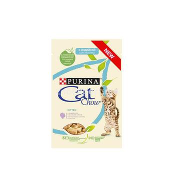 Cat Chow  для котят с индейкой и кабачками в желе