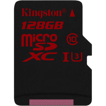Kingston 128GB microSDXC Class10 UHS-I U3 with SD adapter, Ultimate, 633x, Read: 90Mb/s, Write: 80Mb/s