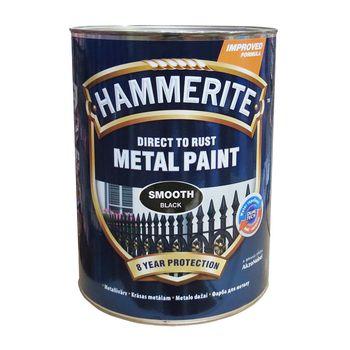 Hammerite Краска для металла Черная гладкая 5л