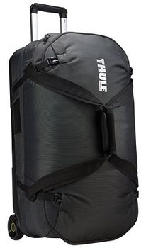 Travel Bag - THULE Subterra Rolling Duffel 75L, Dark Shadow, 800D Nylon, Dimensions 35 x 40 x 70 cm, Weight 4.1 kg, Volume 75, Bag design absorbs the impact of travel due to the durable exoskeleton and molded polycarbonate back panel