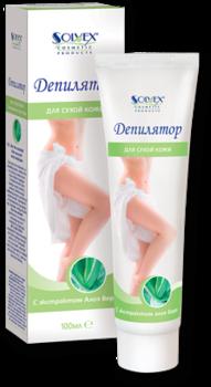 Cremă depilatoare, SOLVEX, 100 ml., pentru piele uscata, cu extract de Aloe Vera