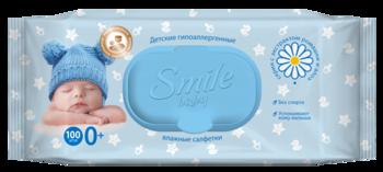 Детские влажные салфетки с клапаном Smile Baby, ромашка и алоэ вера, 100 шт.