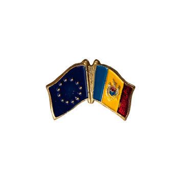 купить Значок на магните - Флаг ЕС & Молдова в Кишинёве