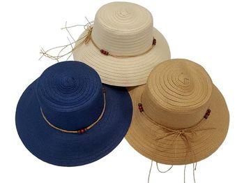 Шляпа женская летняя D35cm, одноцветная с бусами