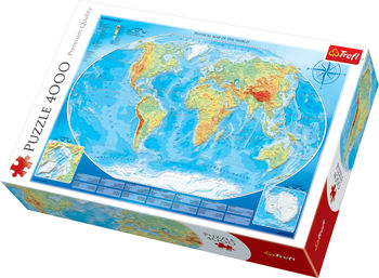 "Пазлы - ""4000"" - Large physical map of the world / Meridian, код 42133"