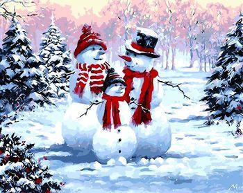 Картина по номерам 40х50 Снеговики GX8339