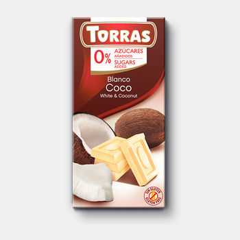 Ciocolata alba cu cocos f/a zahar, f/a gluten Torras 75g