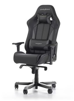 Gaming Chairs DXRacer - King GC-K57-NG-S3, Black/Gray/Black - PU leather & Carbon look PVC,Gamer weight up to 150kg/growth 160-195cm,Foam Density 54kg/m3,5-star Wide Alum Base,Gas Lift 4 Class,Recline 90*-135*,Armrests:4D,Pillow-2,Caster-3*PU,W-30kg