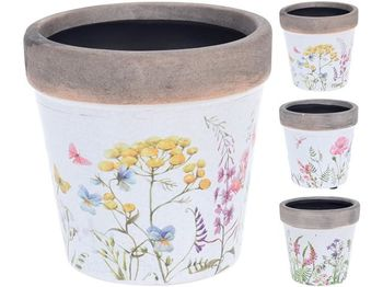 """Ghiveci """"Ierburi si flori"""" D9.5cm,H9.5cm, ceramic"""