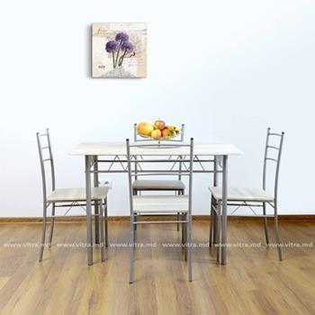 купить Комплект из стола и четырёх стульев из металла и MDF, 1100x700xH760 мм, серебряный в Кишинёве