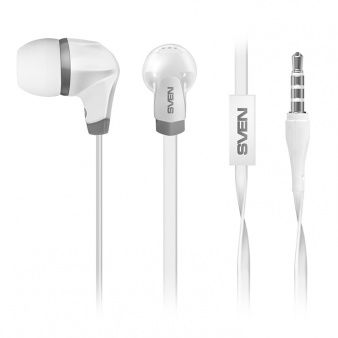 SVEN SEB-260M White, Earphones with microphone, 18-20000Hz, 16Ohm, 106dB, Call acceptance / Pause button, Flat non-tangling cable, 2 pairs removable earpads, 1.2m