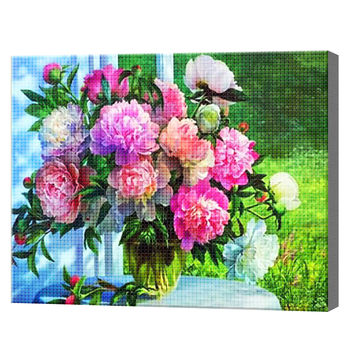 Букет пионов на веранде, 40x50 см, aлмазная мозаика