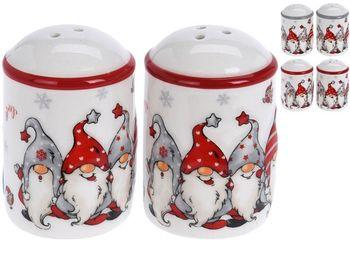 Набор рождественский для соли и перца D5cm, H7cm Гномы, кера