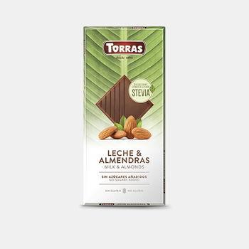 Ciocolata cu lapte cu stevia si mendale f/a gluten Torras 125g
