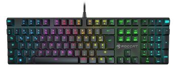 ROCCAT Suora FX / Frameless Mechanical Gaming Keyboard, Mechanical keys, Advanced anti-ghosting, 6 Macro keys, RGB key back-lighting (11-level brightness), Game mode button, USB, US Layout, Black