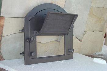 Дверца чугунная глухая правая с термометром PIZZA 2Т