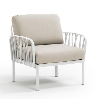 Кресло с подушками c водоотталкивающей тканью для сада и терас Nardi KOMODO POLTRONA BIANCO-TECH panama 40371.00.131
