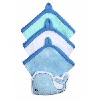 купить Набор из 3 полотенец и мочалки Babyono голубой в Кишинёве